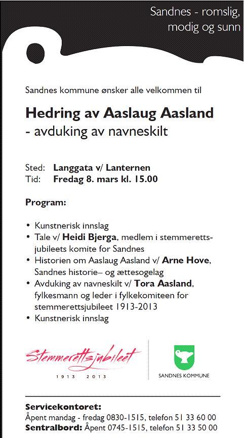 invitasjon 8 mars Sandnes