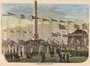 Håndkolorerttegning som viser avdukingsseremonien 18. juli 1872. Fra Haugesund byarkiv.