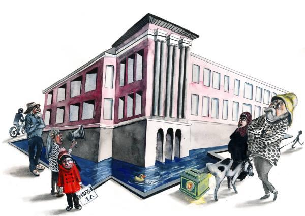 Haugesund sett fra Hilde Thomsens vinkel. Thomsen bidrar med flere illustrasjoner i antologien som utgis høst 2013