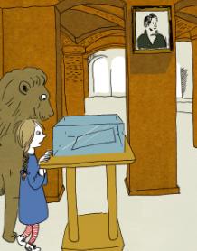 Boken «Mina og Løven» er en del av Stortingets utsendelse til grunnskolene i anledning grunnlovsjubileet. Illustrasjon: Inga H. Sætre