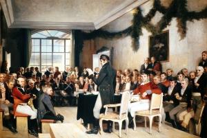 Riksforsamlingen på Eidsvoll 1814. Malt av Oscar Arnold Wergeland, 1885. Maleriet henger i dag på Stortinget. ©Offentlig eiendom (public domain)