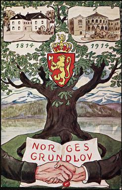 Bilde er et postkort fra jubileet i 1914. Nasjonalebiblioteket.