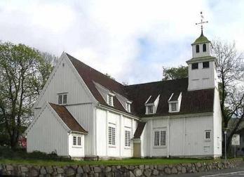 Egesrund kirke, fra sjøen, foto fra www.dalane.kirken.no