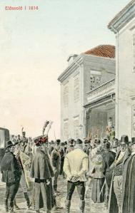 Postkort til 100-års jubileet i 1914 med motiv frå Eidsvoll 1814.  Ukjent kunstner og forlag. Privat eie.
