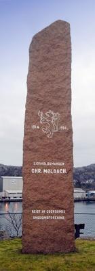 Minnestein for Christen Mølbach i Egeresund. Reist i 1914. Fra Eigersund kommunes nettsider.