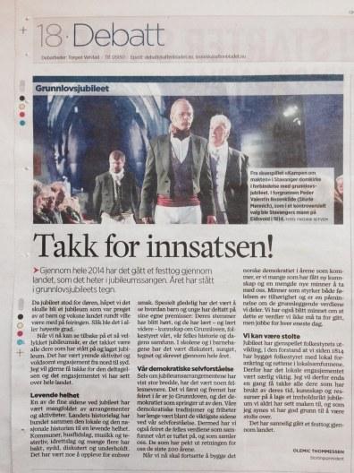 Kronikk av Olemic Thomessen i Stavanger Agtenblad 31 des 2014